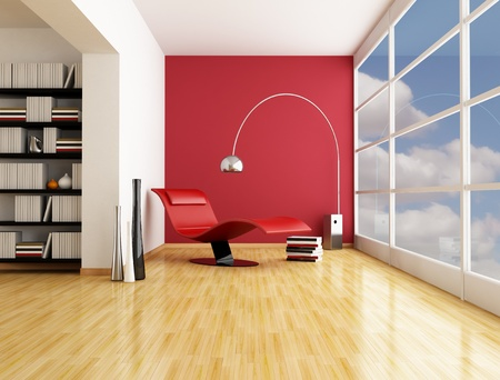 fashion armchair near a big window in a minimalist living room - rendering Stock Photo - 8874789