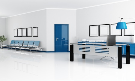 blue and white office with waiting space - rendering photo