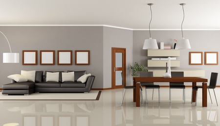 contemporary living room with dining space - rendering photo