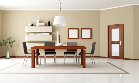 beige dining room with wooden table and door - rendering photo