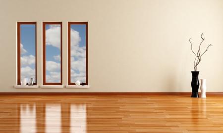 empty minimalist room with three wooden windows - rendering