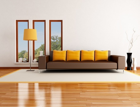 livingroom: modern living room in a country house - rendering - the image on background is a my photo Stock Photo