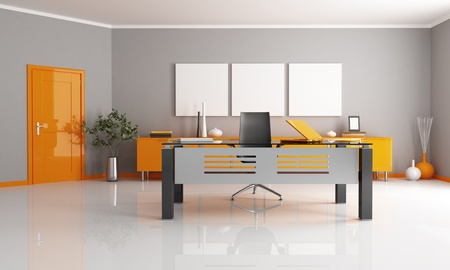 office space: gray and orange office space - rendering
