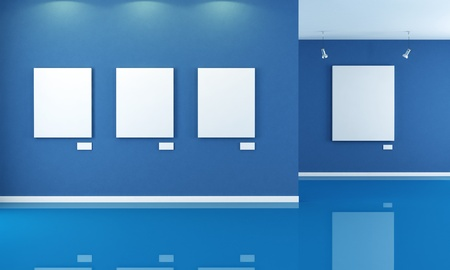 minimalist blue art gallery with empty canvas - rendering Stock Photo - 8952211