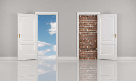 brick wall and blue sky  behind two open white door - rendering Stock Photo - 8952213