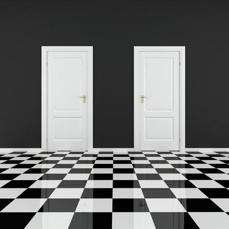 black and white empty room with two door and checkered floor photo