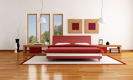 red and white  modern bedroom with parquet floor - rendering-the image on background is a my photo photo