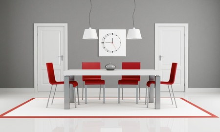gray and red dining room with two white door - rendering photo