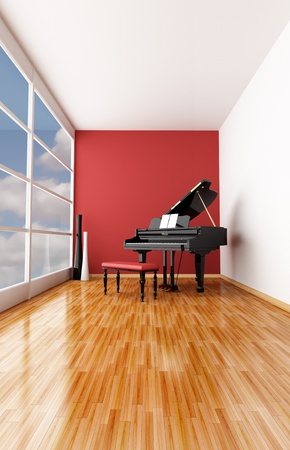 minimalist music room with black grand piano photo