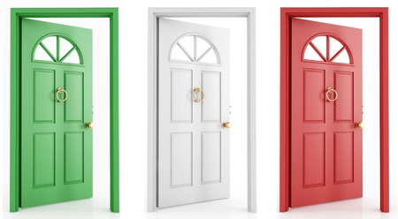 glass door: three open door with the colors  of the italy flag Stock Photo