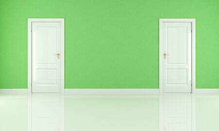 empty green room with two white door - rendering Stock Photo - 8952216