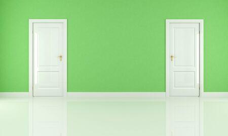 empty green room with two white door - rendering Stock Photo - 8952216