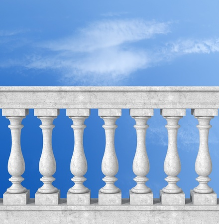 banister: stone white  balustrade with pillar on sky background -the sky is a my photo Stock Photo