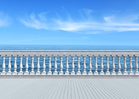 banister: empty terrace overlooking the sea with concrete balustrade and woosen white floor - rendering