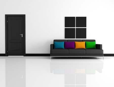 black and white living room with black fabric couch with colored pillow -rendering photo