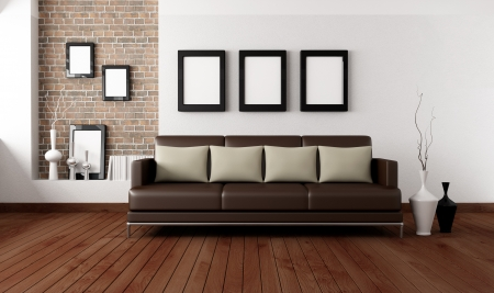 brown sofa with pillow in front a white wall and brick niche Stock Photo - 8952220