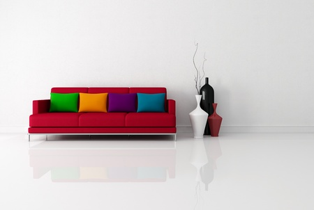 bright minimalist living room with red fabric couch with pillow - rendering photo