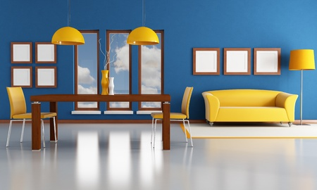 blue and orange dining room - rendering - the image on background is a my photo