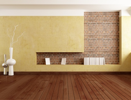 hardwood: empty minimalist room with plaster wall and brick niche - rendering  Stock Photo