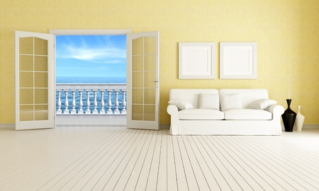 living room of a mediterranean beach house - rendering - the image on background is a my rendering composition photo