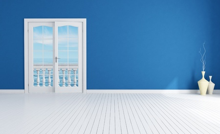 mediterranean interior: blue empty room with closed windows with white plank wood floor-rendering-the image on background is a my rendering composition