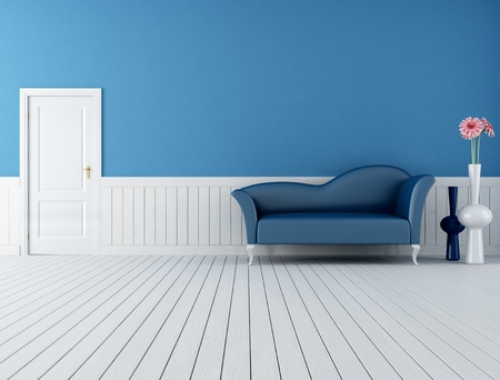 modern blue sofa in a retro interior with plank wood floor-rendering photo