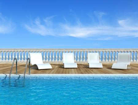 Luxe zwembad met witte fashion ligstoelen - rendering - het beeld op de achtergrond is een samenstelling van mijn rendering