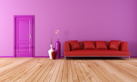 modern living room with red leather sofa with plank wood floor-rendering Stock Photo - 9056227
