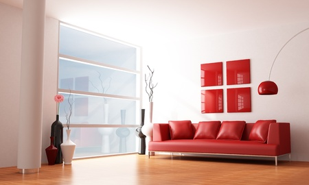 minimalist interior: red and white minimalist living room - rendering