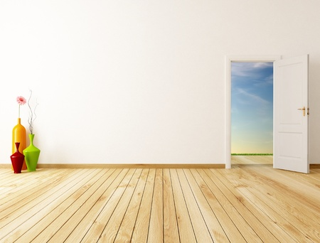empty home entrance with oper door -rendering-the image on background is a my rendering composition Stock Photo - 9056368