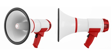 two white and red megaphone isolated on white - rendering Stock Photo