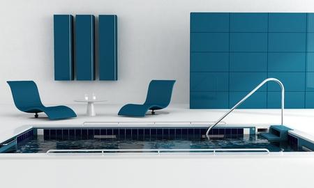 blauw luxe zwembad met mode-leunstoel - rendering