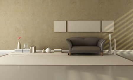 minimalist interior: brown and beige living room with fashion sofa - rendering