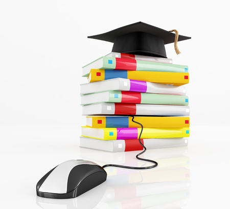 graduation cap  over a stack of book  isolated on white - rendering Stock Photo - 9149562