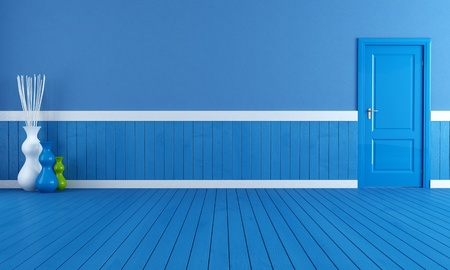 empty blue interior with blue wooden plank and door - rendering Stock Photo - 9165930