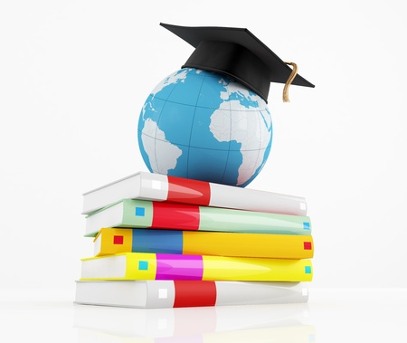 international internet: graduation cap over the globe and stack of book - rendering Stock Photo