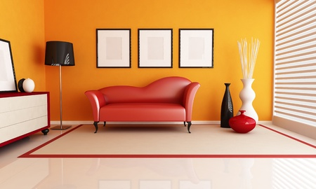 living room minimalist: contemporary living room with fashion red couch - rendering
