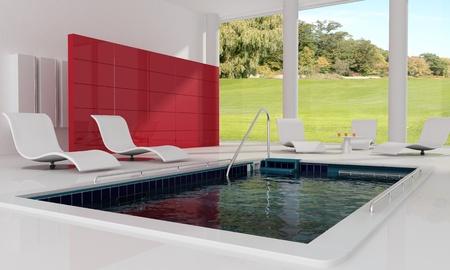 Indoor luxe zwembad - het beeld op achtergrond Stockfoto