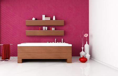 modern bathroom with wooden fashion bathtub -rendering photo