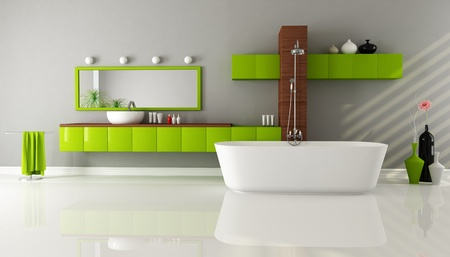 modern bathroom with sink bathtub and shower - rendering Stock Photo