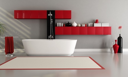 red and black bathroom with bathtub and shower photo
