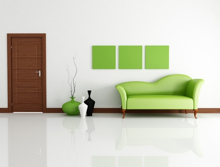 green fashion couch in modern lounge with wooden door-rendering photo