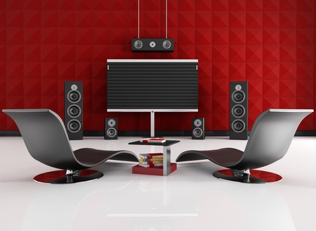 home theatre: home cinema room with red acoustic panel - rendering Stock Photo
