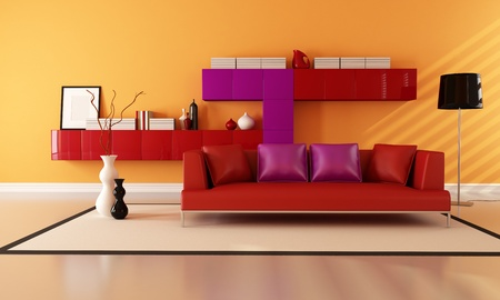 bright red purple and orange contemporary lounge - rendering photo