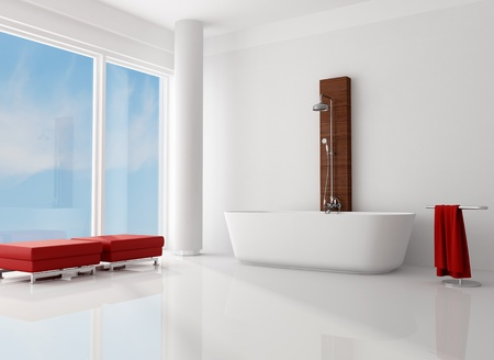 white minimalist bathroom with fashion bathtub with shower-rendering photo