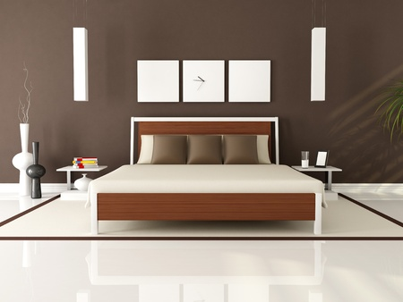 contemporary elegant brown bedroom - rendering photo