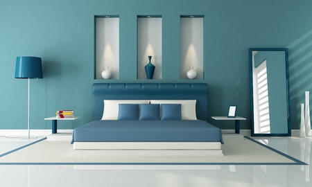 double bed: elegant contemporary bedroom with niche - rendering Stock Photo
