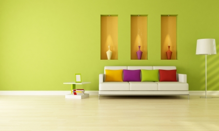 pokoj: minimalist green living room with three niche -rendering
