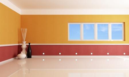 red and orange empty room - rendering Stock Photo - 9223454