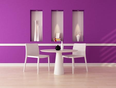 niche: minimalist purple dining room with niche - rendering